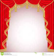 Gold Curtain Tassels Background With Red Velvet Curtain With Tassels Stock Vector