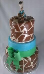 safari themed animal print baby shower cake fondant baby name