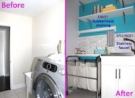 before and after diy makeover laundry room design with stone wall