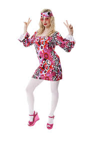 ladies pink retro 60s 70s gogo hippie disco fancy dress