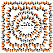 halloween party borders clip art frames u0026 borders orange string lights 18 digital