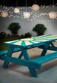 diy sunburst painted picnic table picnic tables spray painting