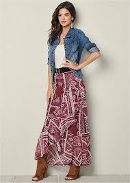 maxi skirt maxi skirts black printed fringe and lace venus