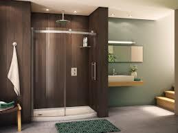 bathtub in front of shower shower glass door modern steel