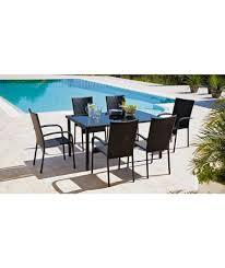 buy lima 6 seater patio furniture dining set black at argos co