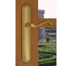 Design House Polished Brass Pocket Door Privacy Hardware by Door Handles Victorian Scroll Lever Lock Handle Polished Patio