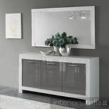 modena modern italian high gloss 3 door sideboard white u0026 grey