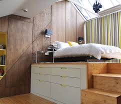 Bedroom Wall Wet Raised Platform Bed Kids Contemporary With Wood Accents Damp Wet