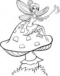 elf fairy fantasy cartoon coloring page u2014 stock vector izakowski