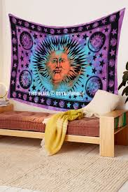 Sun And Moon Bedding Pink Multi Celestial Sun Moon Star Tapestry Tie Dye Thin Sheet