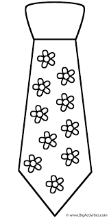 neck tie with flowers coloring page father u0027s day