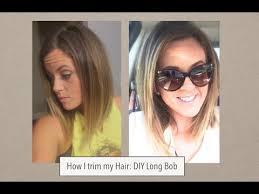 how to cut angles in front corners of hair how i cut my hair long bob trim youtube