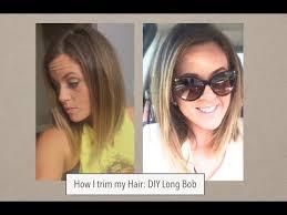 how to cut angled bob haircut myself how i cut my hair long bob trim youtube