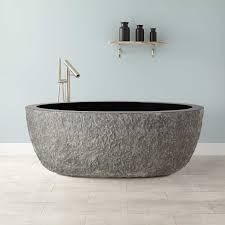 60 augustus chiseled tub blue gray granite bathroom