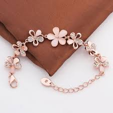 rose gold womens bracelet images Bracelets alloy crystal flower women rose gold plated singapore jpeg
