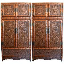 carved wood room divider large huanghuali finley carved chinese cabinets at 1stdibs