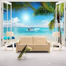 3d Wallpaper For Bedroom Window 3d Beach Seascape View Wall Stickers Art Mural Decal