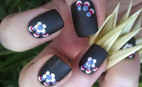 life world women black matte nails with colouful dotted design