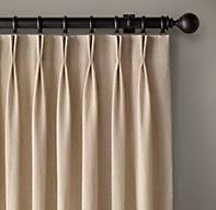 Restoration Hardware Belgian Opaque Linen Custom Belgian Opaque Linen 2 Fold French Pleat Drapery