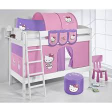 Jelle Hello Kitty Children Bunk Bed In White With Curtains - Hello kitty bunk beds