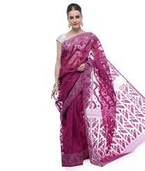 dhakai jamdani saree buy online samayra pink and white muslin cotton dhakai jamdani saree buy