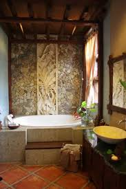 spa home bathroom ideas with stone and wood wall art spa home