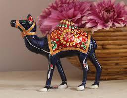 wholesale 6 u201d metal camel figurine with meenakari work u2013 handmade