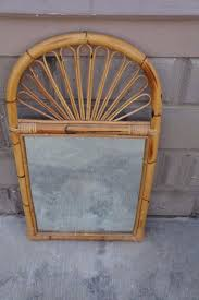 large vintage bamboo stick wall mantle mirror palm beach tiki