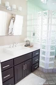 a shiny new master bathroom mirror table and hearth