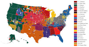 Usa Map By States by Map Reveals Ncaa Football Loyalties College Football Teams Us Map
