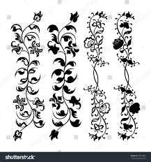 decorative flower set swirling decorative flower ornament motif stock illustration