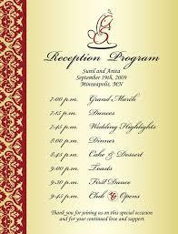 wedding reception programs wedding reception program sle weddings events puram family