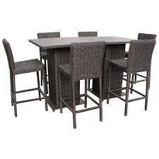 venice pub table set with barstools 5 piece outdoor wicker patio
