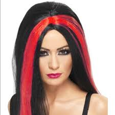 Halloween Costume Wigs Costume Wig Red Black Streaked Costume Halloween Wig Witch