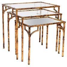 set of three vintage gilded faux bamboo nesting tables faux