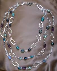 make bead chain necklace images Triple chain beaded necklace step by step beading project jpg