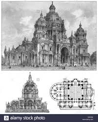 berlin cathedral germany historical illustration floor plan and