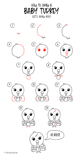 how to draw a baby turkey easy drawing step by step perfect for