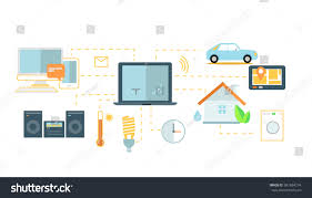 Design Home Wireless Network by Internet Things Icon Flat Design Network Stock Illustration