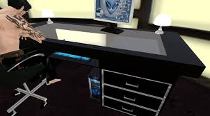 black glass table top second life marketplace sleek black glass top computer desk