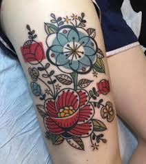 mid century modern barkcloth floral tattoo by jen trok at