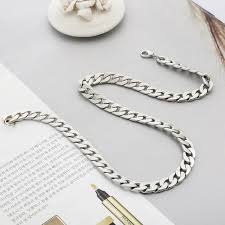 titanium chain link necklace images Online shop men 39 s fashion jewelry alloy silver necklace gift for jpg