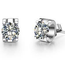 diamond ear studs aliexpress buy 0 5ct oxhead stud earrings solid 585