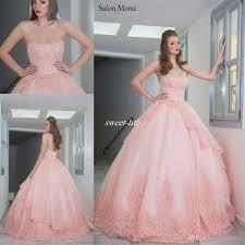 Outdoor Wedding Dresses Salon Mona 2016 Blush Pink Ball Gown Wedding Dresses Strapless