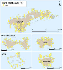 American Samoa Map Coral Reef Monitoring Surveys Completed Around The Islands And