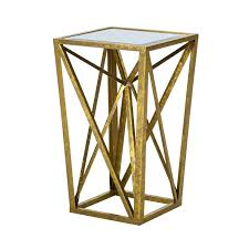 Gold Accent Table Park Angular Mirror Accent Table Gold