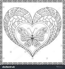 love heart butterfly coloring book stock vector 361639115