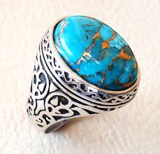 real stone rings images Man ring copper turquoise natural stone sterling silver 925 jpg