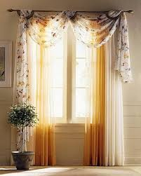 fancy living room curtain using sheer drapery fabric on swag