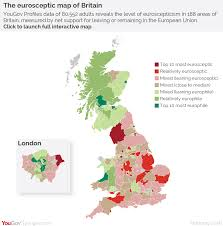 Wales England Map by Yougov The Eurosceptic Map Of Britain